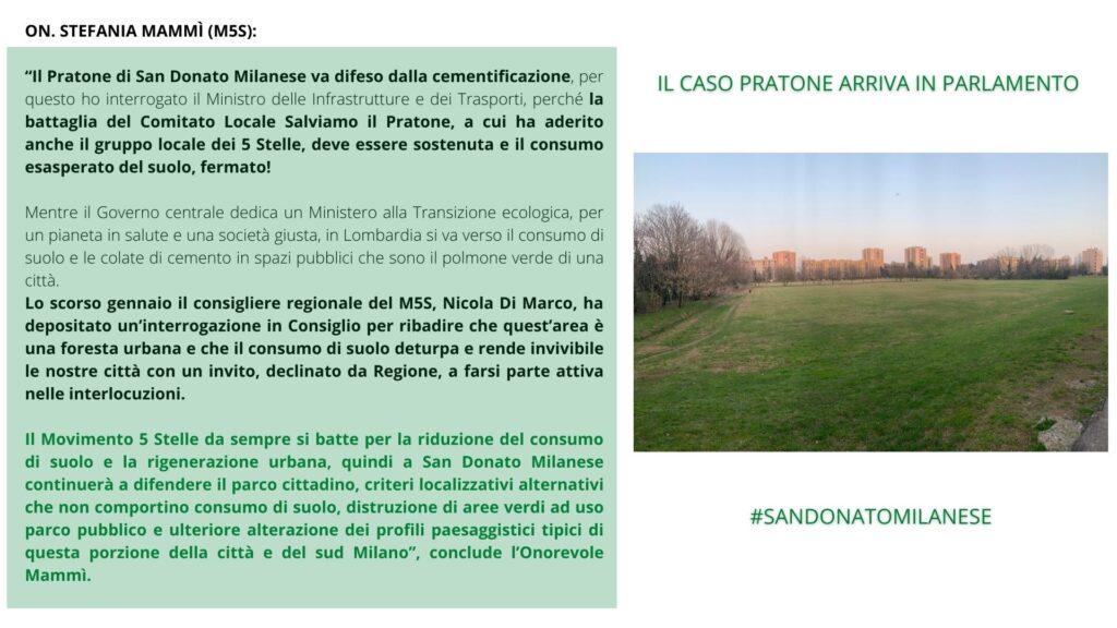 Il caso pratone di San Donato Milanese Arriva in Parlamento