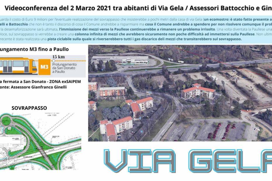 Via Gela 2 Marzo 21 - San Donato Milanese Videconferenza con Assessori Battocchio e Ginelli e Abitanti di Via gela sul problema del futuro sovrappasso e sul prolungamento della linea gialla m3 fino a Paullo